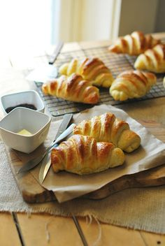 Croissants. awesome step-by-step here: http://www.topwithcinnamon.com/2012/12/how-to-make-croissants.html