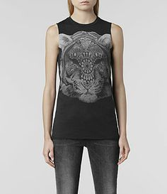 Womens Tigre Vest (Black) | ALLSAINTS.com
