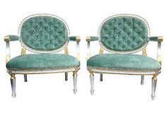 One Kings Lane - Two-Tone Gilded French Fauteuils, Pair