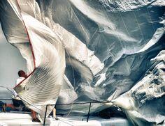 Bringing in the sail  #sailing, wind, surface, creases,