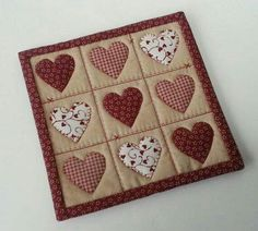 PDF Hearts and Stitches Mug Rug / Mini Quilt by CraftingwLisaMarie Mini Quilt Patterns, Mug Rug Patterns, Canvas Patterns, Small Quilts, Mini Quilts, Quilting Projects, Sewing Projects, Valentines Mugs, Quilted Gifts
