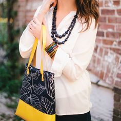Navy and Yellow, never gets old. #fashion #handbag #tagua #jewelry #bohochic #spring #tote