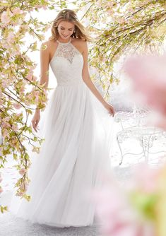 Voyage by Mori Lee 6898 Leilani Halter A-Line with a Keyhole Back Wedding Dress . Voyage by Mori Lee 6898 Leilani Halter A-Line with a Keyhole Back Wedding Dress - Kleider - Dresses Bridal Wedding Dresses, Wedding Dress Styles, Dream Wedding Dresses, Bridal Style, High Neck Wedding Dresses, Country Style Wedding Dresses, Ethereal Wedding Dress, Mori Lee Wedding Dress, Wedding Dress Pictures