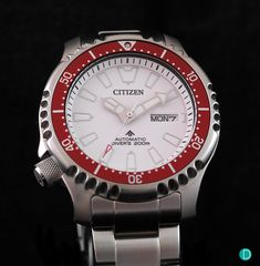 Citizen launches the new Promaster Mechanical Diver – ASIA LIMITED EDITION white dial, red bezel insert, and limited to 888 pieces. Stainless Steel Bracelet, Stainless Steel Case, Motion Wallpapers, Citizen Watch, In The Flesh, Rolex Watches, Asia, Stylish