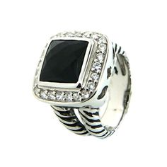 Designer Inspired .925 Sterling Silver Black Onyx CZ Double Cable Style Ring