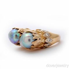 Antique Retro Diamond 10mm Pearl 14K Gold Ring 15.0 Grams NR