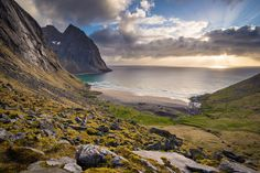 An impressively beautiful beach on Lofoten islands - Kvalvika. A few people are camping there. Their tents can be spotted if you look closely.