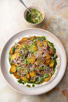 Yotam Ottolenghi, Ottolenghi Recipes, Potato Recipes, Vegetable Recipes, Vegetarian Recipes, Veggie Meals, Savoury Recipes, Healthy Recipes, Veggie Dishes
