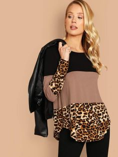 To find out about the Asymmetrical Hem Colorblock Leopard Tee at SHEIN, part of our latest T-Shirts ready to shop online today! Casual Outfits, Fashion Outfits, Womens Fashion, Latest T Shirt, Refashion, Fashion Prints, Diy Clothes, Cool T Shirts, Color Blocking