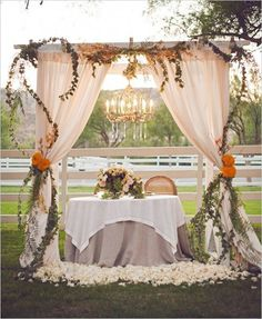 Such a romantic sweetheart table! #sweethearttable #canopy #romanticwedding