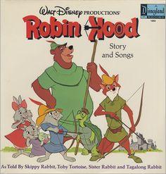 Walt Disney Productions' Robin Hood Story and Songs Vinyl Record Old Disney, Vintage Disney, Disney Jr, Disney Music, Disney Cartoons, Disney Movies, Robin Hood 1973, Make Mine Music, Walt Disney Records