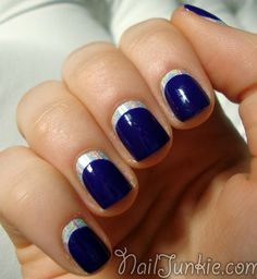 Silver is good with almost any combination and to prove that, here's a proof with blue nail polish.