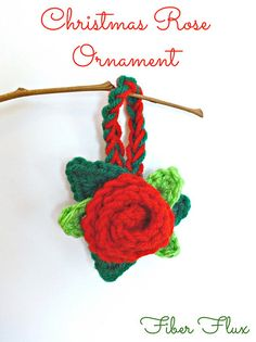 Christmas Rose Ornament - Free by Jennifer Dickerson of Fiber Flux / Tidings of Joy - 12 Crochet Round Ups of Christmas - Rebeckah's Treasures