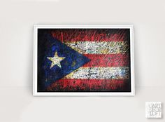 Hand-Painted Flag of Puerto Rico Puerto Rican Flag-Distressed