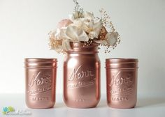 These beautiful painted mason jars are painted a shiny copper color. They are ideal for home decor and weddings. Because they are painted on the