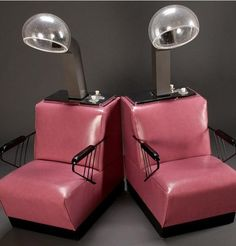 Retro salon dryer chairs in pink.  I had one similar to this (not pink) in my bedroom for years!  LOL