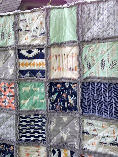 Crib Rag Quilt Aztec Gray Elk Arrows Feathers Baby by CottageDome