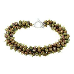 Anemone Bracelet - Easy and fast: short fringe on a spine.  From Fusion Beads. #seed #bead #tutorial
