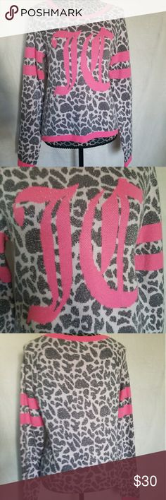 Juicy Couture Sweater! Adorable grey and white animal print Juicy Couture Sweater. Hot pink JC letter on front. Perfect condition! Sweaters Cardigans