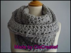 "Made by ©ClaCreatief  Lekkere warme col gehaakt. Patroon: ""Marcia shawl"" van Kistina Olson."