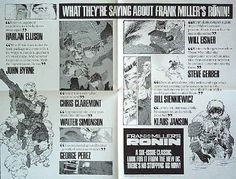 RONIN Promo Poster - Artwork by Frank Miller, DC Comics, 1983, condition NM, 4x, size 17 x 22 inches, B&W; Main characters with quotes from industry professionals. $10
