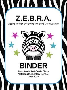 These Zebra themed binder covers will keep you organized in zebra style!...