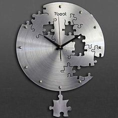 16 Inch Circilar Creative Puzzles Wall Clock Art Wall Clock Modern Design Living Room And Bedroom Mute Wall Watch Home Decor Silver Wall Art, Silver Walls, Home Wall Art, Wall Art Decor, Best Wall Clocks, Unusual Clocks, Metal Puzzles, Wall Watch, Metal Tree Wall Art