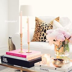 ceresbr1 @ceresbr1 Coffee table styling, Tom Ford, Vintage candle holders, Diptyque candle, Peonie