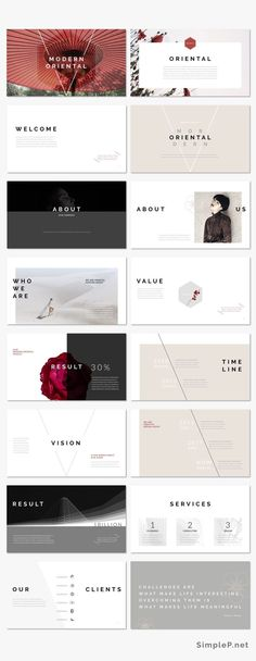 Modern Oriental Keynote Presentation Template #cherryblossoms #spring #oriental #japanese #business #simple #minimal