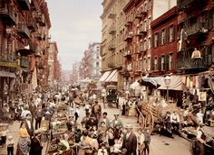 Mulberry street, Manhattan, 1900. It's astonishing how little the street has changed in more than a century.