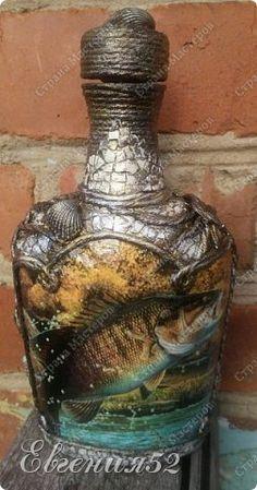 Декор предметов Декупаж Бутылочка-подарок для рыбака Бутылки стеклянные Краска Ракушки Шпагат фото 16
