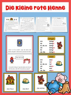 German version of The Little Red Hen for beginning readers in German. This extensive set of worksheets helps to improve German sentence structure, spelling and reading accuracy. The story and exercises come in 2 versions: Präsens (simple present) and Präteritum (preterite).