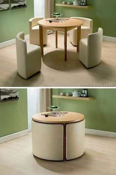 Tables and chairs are really space efficient when you buy them as a set. Normally these are fit together so when the chairs are pushed in, it would accommodate the space of the table only. Here's a great example of a beautiful chair and table set.