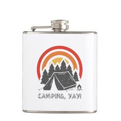 Camping, Yay! Flask   christmas gifts for campers, confirmation gifts, thankyou gifts #scrubbies #nylonnetscrubbies #airstream