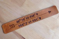 Leather Bookmark Longitude Latitude Bookmark GPS Coordinates Love Bookmark Arrow Bookmark Personalized Gift Book Lover 3rd Anniversary Gift