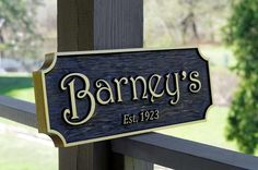d44622b6c36d Custom Carved Cedar bar sign with black stain carved with Est. year - Cedar  signs. The Carving Company