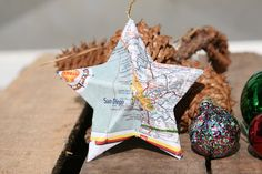 San Diego, California - Map Covered Star Ornament - CA, Home Decor, West Coast, 3 Dimensional, Christmas, Tree, Map Ornament by CaffeinatedSquirrel on Etsy