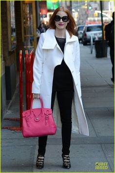Jessica Chastain carries the Ralph Lauren Collection Saddle Bag.
