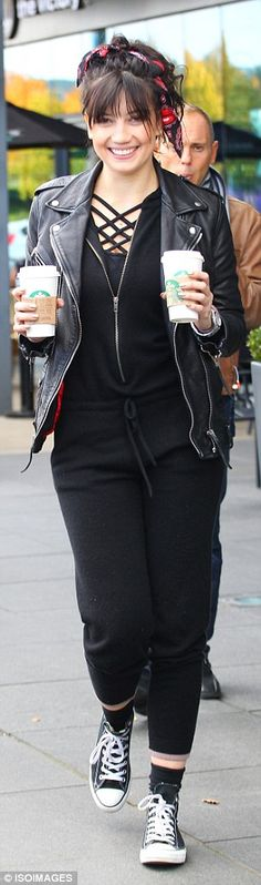 Daisy Lowe wears cross-cross leotard underneath sporty onesie ahead of Strictly rehearsals | Daily Mail Online