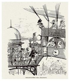 Albert Robida, Ilustración (Embarcadero de aereonaves),Francia,  1883.