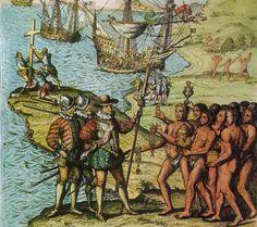 Hier zie je Columbus die een nieuwe vaarroute naar Indië denkt te hebben ontdekt maar hij heeft eigenlijk een nieuw wereld deel ontdekt (Amerika) ontdekt dit gebeurd  allemaal in 1492