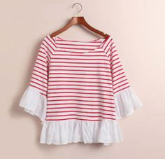 IN STOCK Red striped frill top via Lynn Boutique. Click on the image to see more!