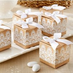 Rustic & Lace Kraft Favor Box (Set of 24) - Brown Wedding Favor Boxes - Favor Boxes - Favor Packaging - Wedding Favors & Party Supplies - Favors and Flowers