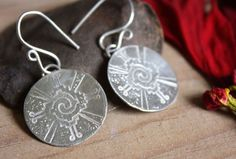 Hunab Ku, Maya sterling silver earrings