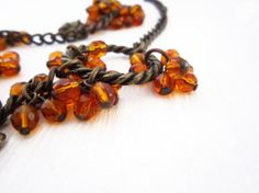 Necklace in amber from bronze chain metal by JewelryNeshElly, $21.00