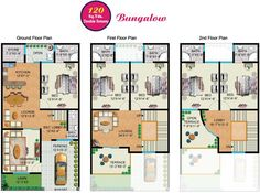 Rainbow Sweet Homes – 120 Sq Yards (Double Storey) Bungalow internal Plan - fjtown 30x40 House Plans, My House Plans, House Layout Plans, Duplex House Plans, Bungalow House Plans, Bungalow House Design, Modern House Plans, Small House Plans, House Layouts
