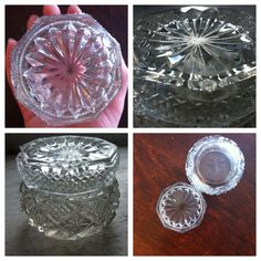 Striking Vintage Clear Glass Trinket come Candle: by rbynsnest