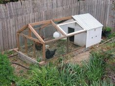 A coop for the small backyard. Hope the chickens don't mind the small size!