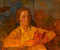 "Twentieth Century British Art by Percy Horton: ""Joan Jenner/Rhoades reading, circa Reading Art, Woman Reading, Brighton England, Moise, National Portrait Gallery, Art Club, First World, The Twenties, Oil On Canvas"