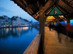 The legendary Lucerne Kapellbrücke (Cover Bridge), walked it several times in three days all in the rain!
